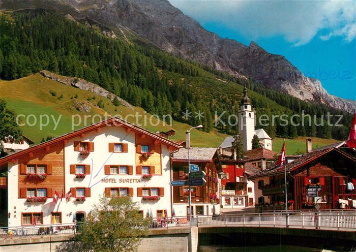 AK / Ansichtskarte Spluegen_GR Hotel Suretta Kirche am Spluegenpass Alpenpass Spluegen_GR