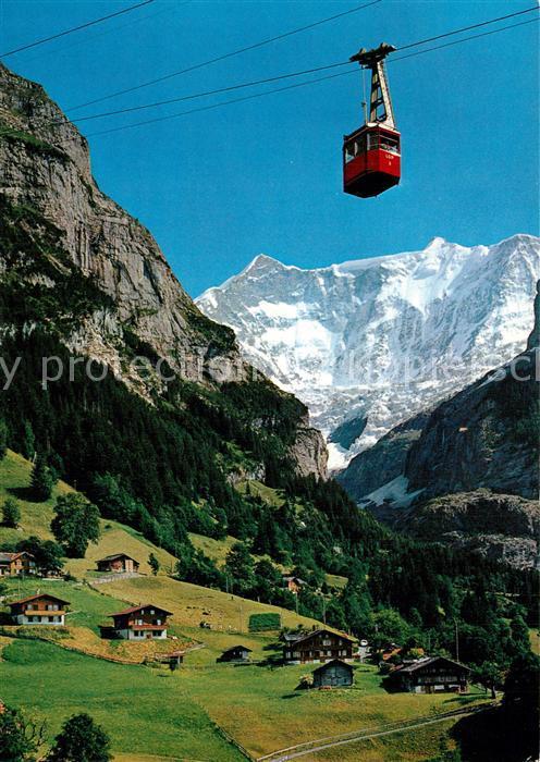 AK / Ansichtskarte Grindelwald Luftseilbahn Grindelwald Pfingstegg mit Fiescherhoerner Berner Alpen Grindelwald