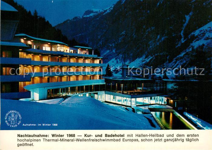 AK / Ansichtskarte Bad_Vals_GR Kur  und Badehotel im Winter Nachtaufnahme Bad_Vals_GR