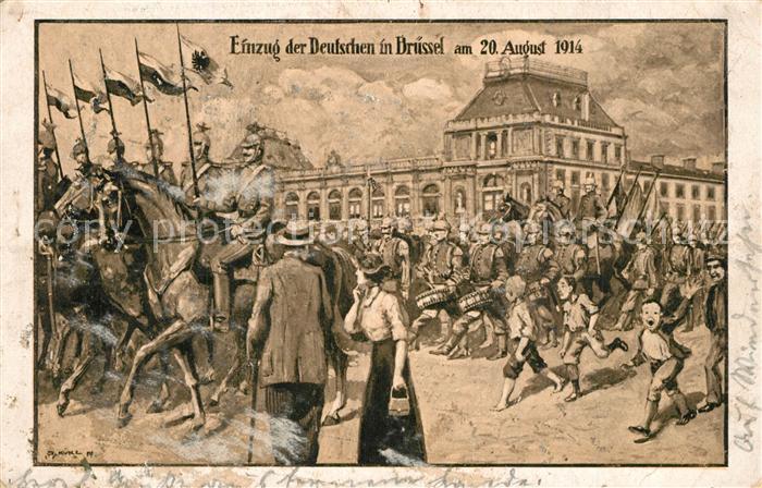 Bruessel_Bruxelles Einzug der Deutschen am 20 Aug 1914 Bruessel_Bruxelles