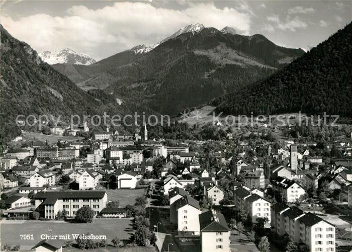 AK / Ansichtskarte Chur_GR Panorama mit Weisshorn Chur_GR