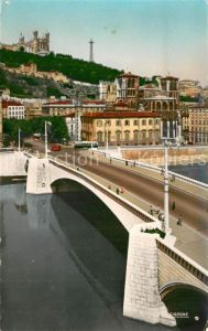 Lyon_France Pont Tilsitt sur la Saone Cathedrale Saint Jean et Fourviere Lyon France