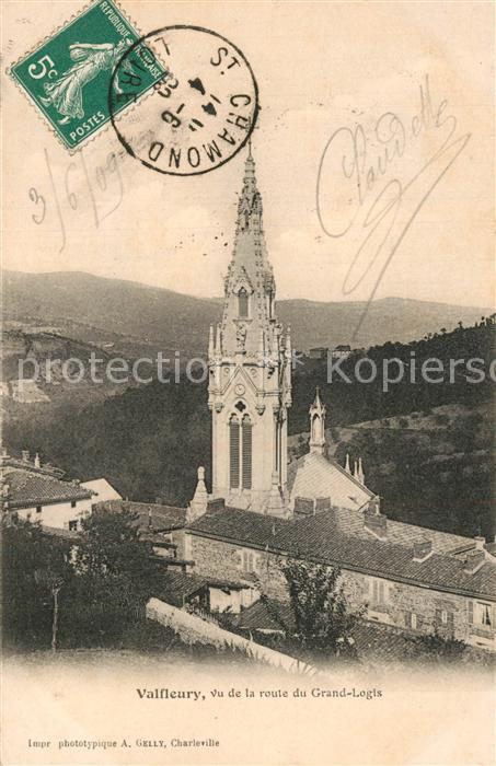 Valfleury Eglise vue de la Route du Grand Logis Valfleury
