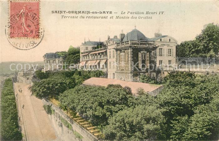 Saint Germain en Laye Pavillon Henri IV Terrasse du restaurant Montee des Grottes Saint Germain en Laye