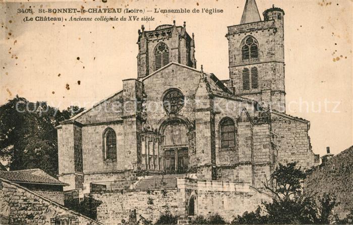 Saint Bonnet le Chateau Ensemble de l Eglise Chateau ancienne collegiale du XVe siecle Saint Bonnet le Chateau