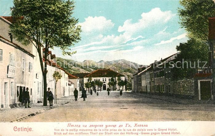 Cetinje Gasse mit Grand Hotel Blick von der Hofburg Cetinje