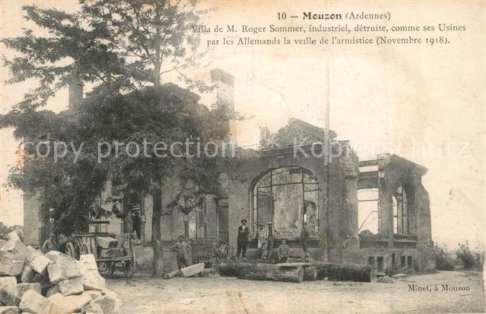 Mouzon_Ardennes Villa de Roger Sommer detruite comme ses Usines par les Allemands la veille de l armistice Mouzon Ardennes