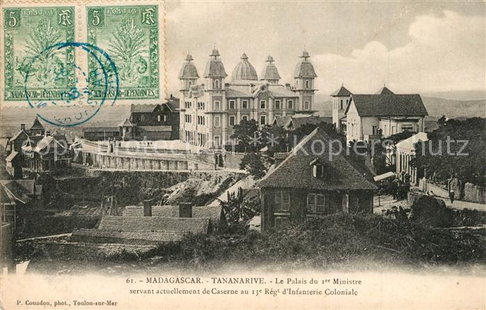 Tananarive Le Palais du 1er Ministre servant actuellement de Caserne au 13e Regt d'Infanterie Coloniale Tananarive