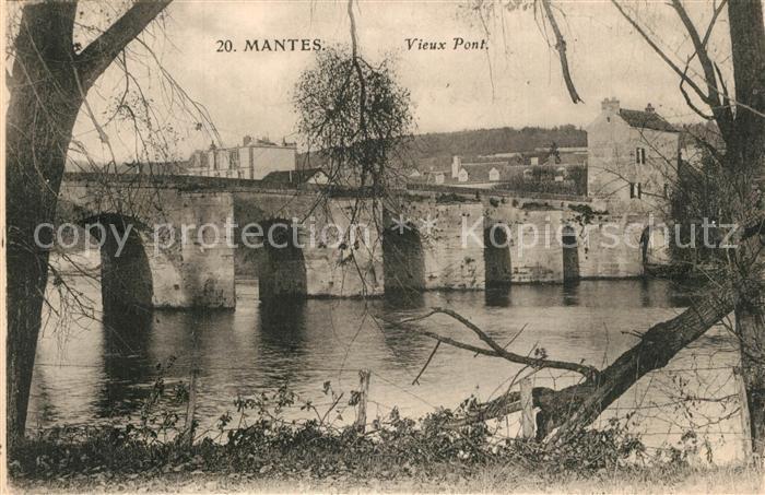Mantes la Jolie Vieux pont bords de la Seine Mantes la Jolie