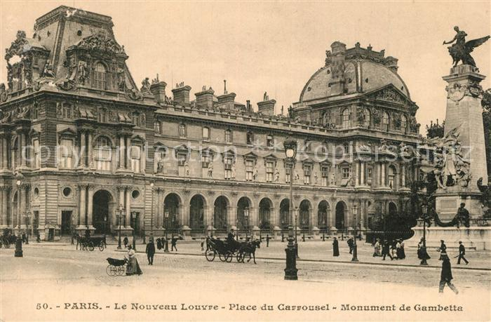 Paris Nouvel Louvre Place du Carrousel Monument de Gambetta Paris