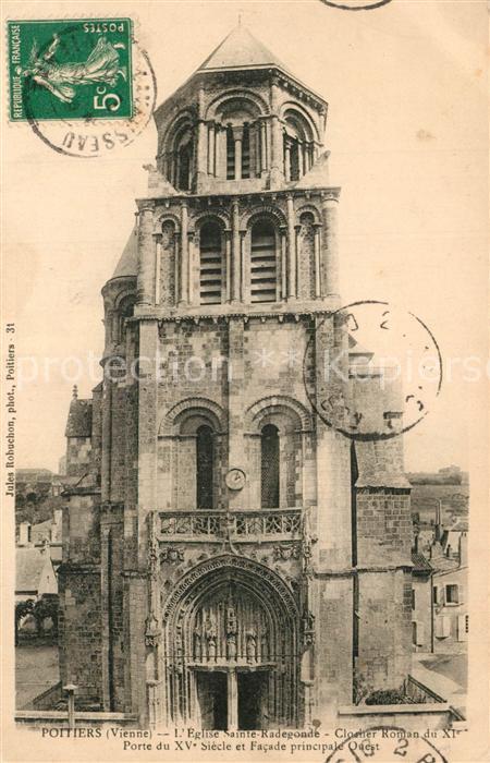 Poitiers_Vienne Eglise Sainte Radegonde Clocher Roman du XIer siecle Poitiers Vienne