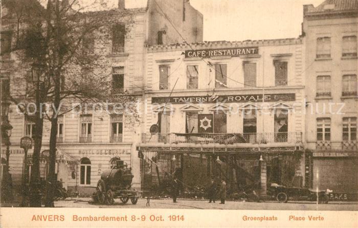 Anvers_Antwerpen Bombardement Oct 1914 Place Verte Anvers Antwerpen
