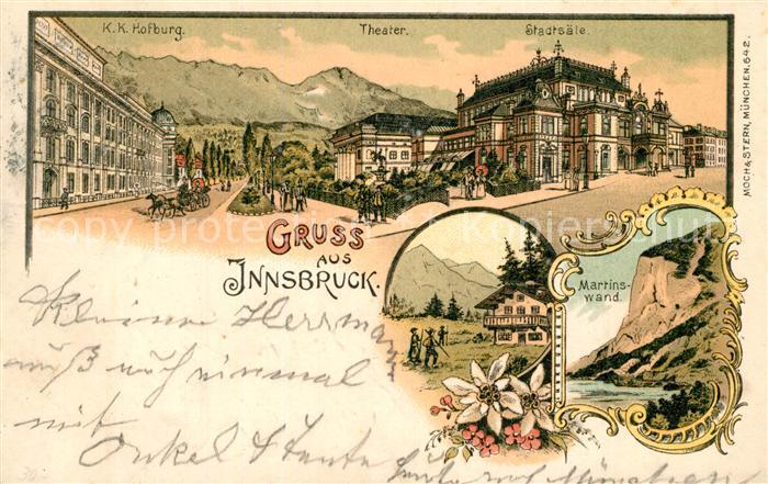 Innsbruck KuK Hofburg Theater Stadtsaele Martinswand Innsbruck