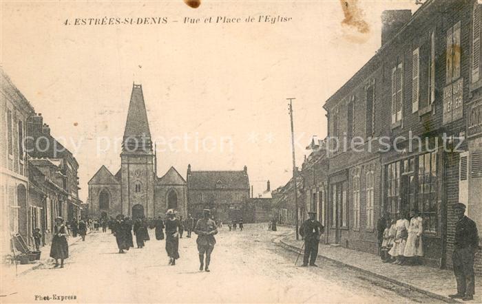 Estrees Saint Denis Vue et Place de l Eglise Estrees Saint Denis