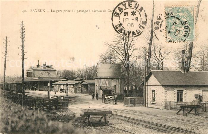 Bayeux La gare prise du passage a niveau de Cremelles Bayeux
