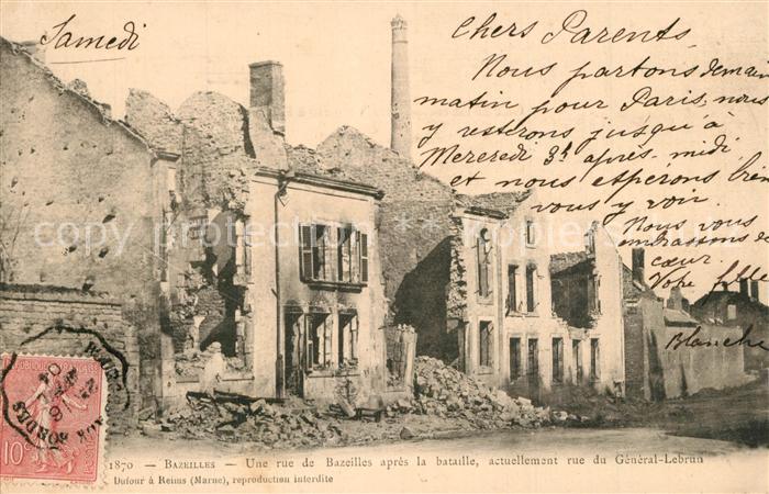 Bazeilles Une ru de Bazeilles apres la bataille actuellement rue du General Lebrun Bazeilles