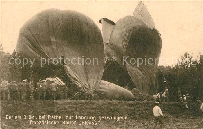 Rethel_Ardennes Zur Landung gezwungener franz Ballon Elsass im Okt 16 Rethel Ardennes