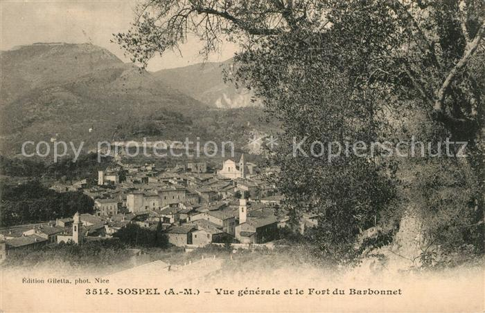Sospel Vue generale et Fort du Barbonnet Sospel