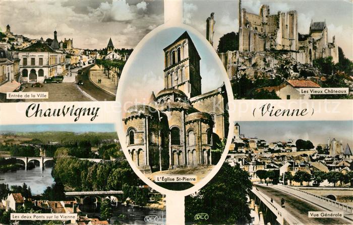 Chauvigny Entree de la ville Vieux Chateaux Ponts sur la Vienne Eglise Saint Pierre Chauvigny