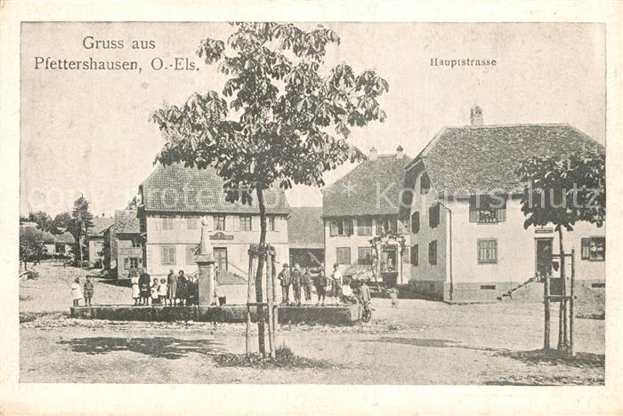 Pfettershausen_Elsass Hauptstrasse Brunnen