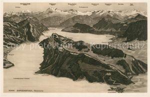 Buergenstock Vierwaldstaetter See Alpenpanorama aus der Vogelperspektive Buergenstock