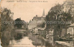 Nemours_Seine et Marne Bords du Loing Vue prise de l`Ile du Moulin Nemours Seine et Marne