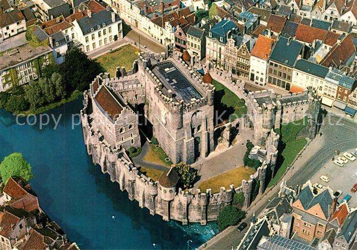 Gent_Gand_Flandre s Gravensteen Chateau des Comtes Fliegeraufnahme Gent_Gand_Flandre