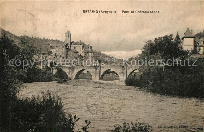 Estaing_Aveyron Pont et Chateau feodal Estaing_Aveyron