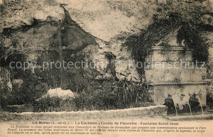 Nerac La Garenne Grotte de Fleurette Fontaine Saint Jean Nerac