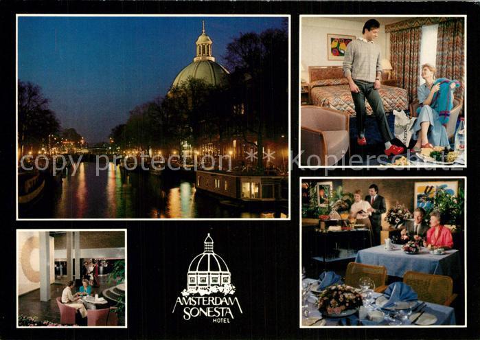 Amsterdam_Niederlande Amsterdam Sonesta Hotel at night Restaurant Room Amsterdam_Niederlande