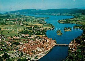 Stein_Rhein mit Insel Werd und Untersee Fliegeraufnahme Stein Rhein