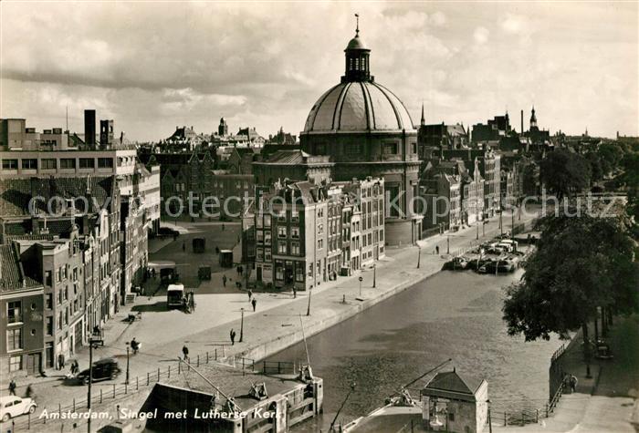Amsterdam_Niederlande Singel met Lutherse Kerk Kirche Amsterdam_Niederlande