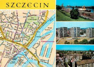 Szczecin_Stettin Stadtplan Stadtzentrum Hafen Oder Siedlung Hochhaeuser Szczecin_Stettin