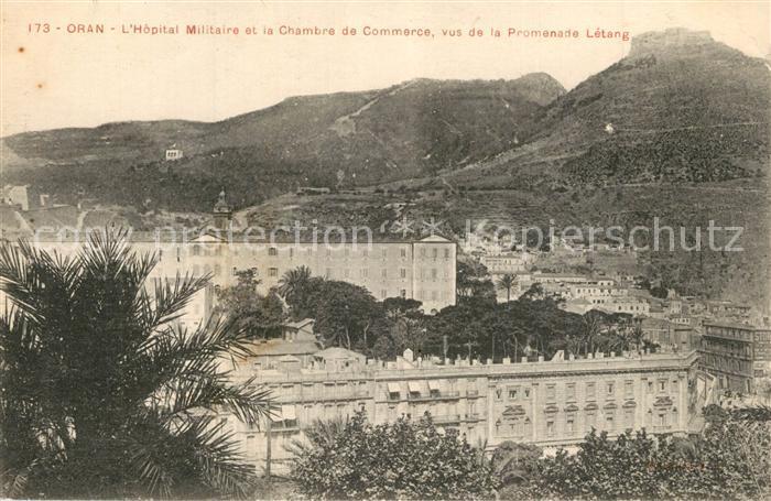 Oran_Algerie Hopital Militaire Chambre de Commerce vus de la Promenade Letang Oran Algerie