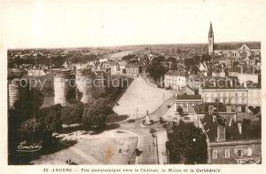 Angers Vue panoramique vers le Chateau la Maine et la Cathedrale Angers