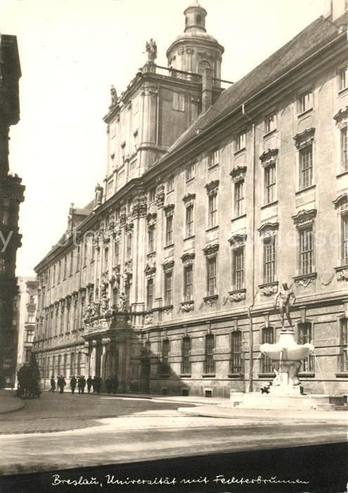 Breslau_Niederschlesien Universitaet mit Fechterbrunnen Breslau_Niederschlesien