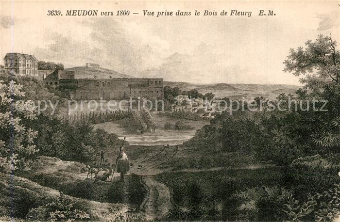 Meudon vers 1800 vue prise dans le Bois de Fleury Dessin Kuenstlerkarte Meudon