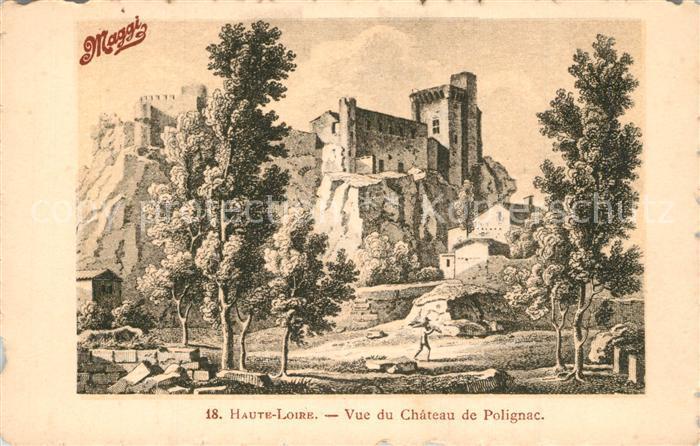 Polignac_Haute Loire Chateau Werbung Maggi Dessin Kuenstlerkarte Polignac Haute Loire
