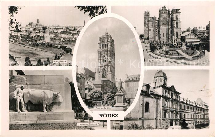 Rodez Vue generale Monument Eglise Hopital Place Rodez