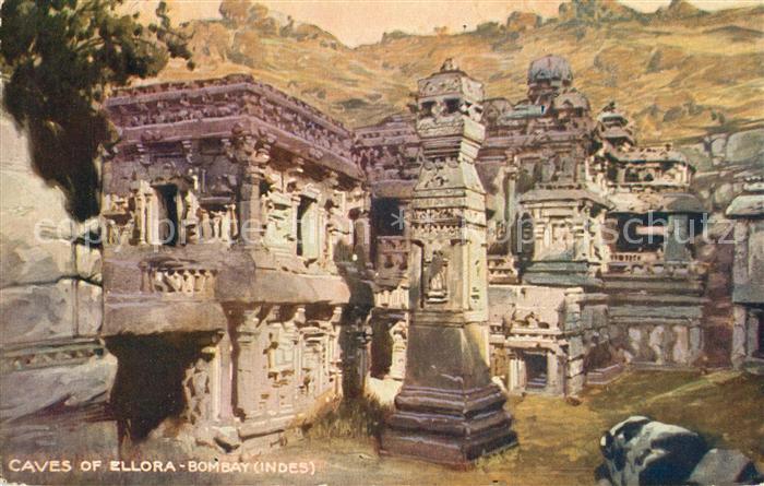 Bombay_Mumbai Caves of Ellora Painting Kuenstlerkarte Bombay Mumbai