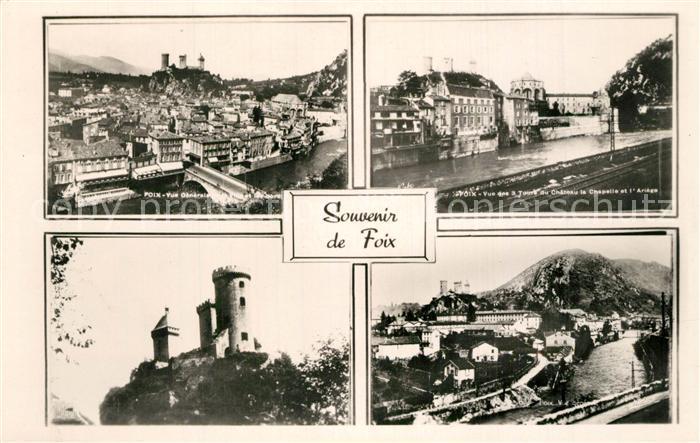 Foix Vue generale Chateau Chapelle et l Ariege Foix