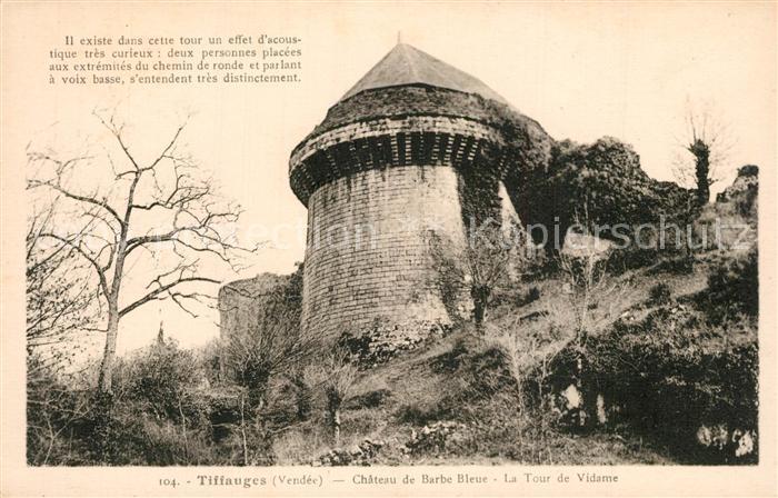 Tiffauges Chateau de Barb Bleue Tour de Vidame Tiffauges