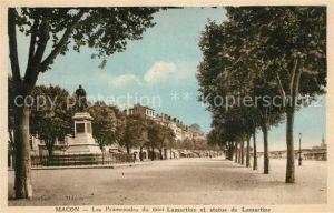 Macon_Saone et Loire Les Promenades du quai Lamartine et statue de Lamartine Macon Saone et Loire