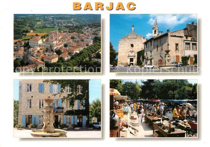 Barjac_Gard Eglise Fontaine Marche vue aerienne Barjac Gard