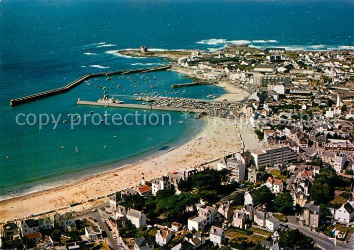 Quiberon_Morbihan Grande plage et le port vue aerienne Quiberon Morbihan