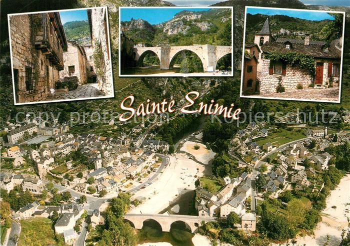 Sainte Enimie Village medieval au coeur des Gorges du Tarn vue aerienne Sainte Enimie