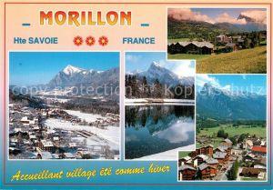 Morillon Panorama du village en ete et en hiver Alpes Lac Morillon
