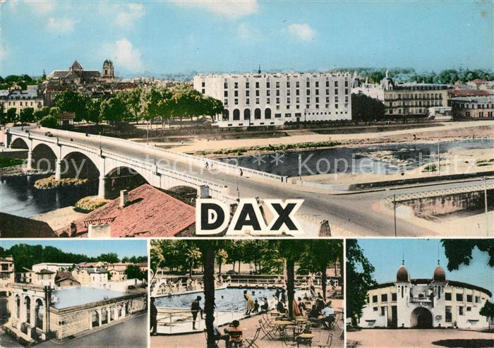 Dax_Landes Vue generale et l Adour Fontaine d eau chaude Piscine des Baignots Les Arenes Dax_Landes