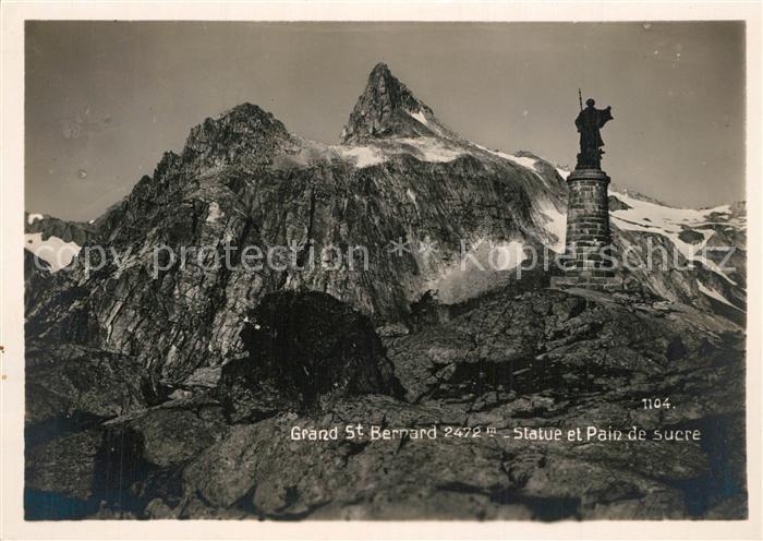 Grand_Saint_Bernard Statue et Pain de sucre Gebirgspanorama Walliser Alpen Grand_Saint_Bernard