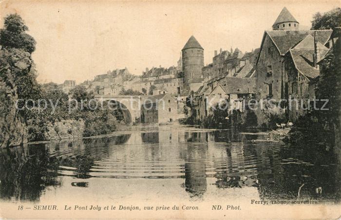 Semur en Auxois Pont Joly Donjon vue prise du Caron Semur en Auxois